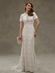 Sheath / Column Jewel Neck Floor Length Lace Wedding Dress with Lace Sash / Ribbon Draped by LAN TING BRIDE®