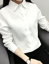 cheap -Women's Daily Casual Shirt,Solid Shirt Collar Long Sleeves Cotton