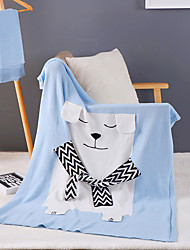 Knitted,Solid Cartoon 100% Cotton Blankets