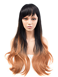 Fashion Long Black To Brown Ombre Color Straight Wig African American Heat Resistant Synthetic Wigs
