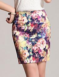 preiswerte -Damen Übergrössen Bodycon Röcke - Blumen, Blumig Druck