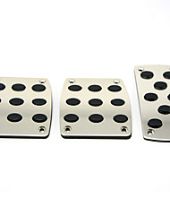 Silver 3PCS Auto Manual Pedal Pad