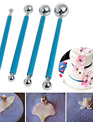 cheap -4Pcs Metal Ball Baking Fondant Cake Tools Stainless Steel 8 Head Pen for Sugar Flower DIY Cake tools
