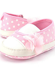 Baby Girls' Kids' Loafers & Slip-Ons First Walkers Twill Summer Fall Party & Evening Dress Casual Lace-up Polka Dot Flat Heel Blushing Pink Flat
