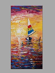 cheap -Hand-Painted Landscape Vertical, Modern Modern/Contemporary Canvas Oil Painting Home Decoration One Panel