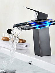Centerset Waterfall LED indicator Oil-rubbed Bronze , Bathroom Sink Faucet