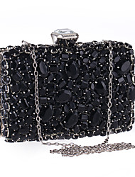 Women Bags Polyester Evening Bag Rhinestone Crystal for Wedding Event/Party Formal Party & Evening Club All Seasons Black Silver
