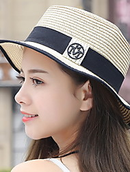 cheap -Women Beach Summer Sunscreen Folded Flat Top Standard Splicing Color Straw Hat