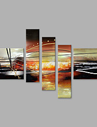 cheap -Hand-Painted Abstract Vertical Panoramic, Abstract Modern/Contemporary Canvas Oil Painting Home Decoration Five Panels