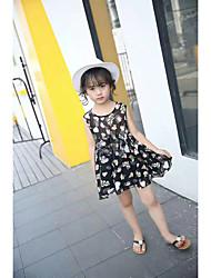 cheap -Girl's Lattice Dress, Cotton Summer Sleeveless Floral Black