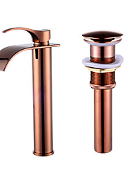 cheap -Contemporary Ceramic Valve Single Handle One Hole Rose Gold, Faucet Set