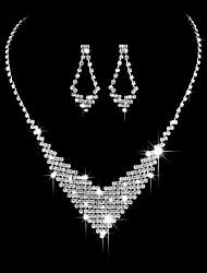 Недорогие -Жен. Цирконий Комплект ювелирных изделий - Цирконий, Серебристый Сердце Мода, Элегантный стиль Включают Серьги-слезки / Ожерелья-бархатки / Свадебные комплекты ювелирных изделий Серебряный Назначение