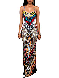cheap -Women's Boho|Backless Going out Vintage Backless Slim Split Sheath Dress,Print Strap Maxi Sleeveless