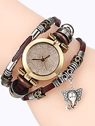 cheap -Top Women Premium Genuine Leather Watch Triple Bracelet Watch Elephant Charm Wristwatch Fashion Para Femme
