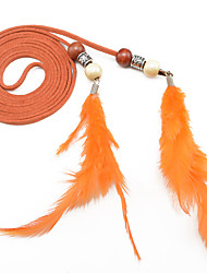 Women's Fashion Silver Beads Feathers Tassel Knotted Thin Belt / 10 Colors