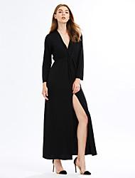 Gaine Robe Femme Décontracté / Quotidien / Soirée / Cocktail Sexy / simple,Couleur Pleine V Profond Maxi Manches Longues Noir Polyester