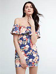 Women's Off The Shoulder|Ruffle Sexy Fashion Boat Neck Ruffle Side Floral Print Bodycon Mini Dress