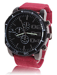Men's Dress Watch Large Dial Fabric Band Casual Red Green Navy