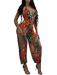 abordables -Mujer Playa Mono - Espalda al Aire Separado Floral, Flor Tiro Alto Escote en V Profunda