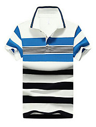 baratos -Homens Polo Estampado / Fivela, Listrado Algodão Colarinho de Camisa
