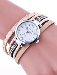 Damen Armband-Uhr Quartz Strass Leder Band Bequem Schwarz Rot Braun Beige Marinenblau