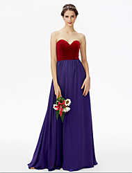 cheap -A-Line Sweetheart Floor Length Chiffon Velvet Bridesmaid Dress with Pleats by LAN TING BRIDE®