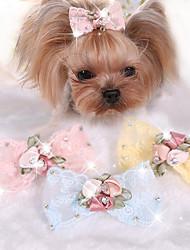 Cane Accessori per acconciature Abbigliamento per cani Romantico Casual Fiocco Giallo Blu Rosa