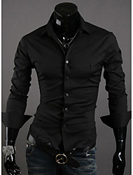 cheap -Men's Daily Chinoiserie Shirt,Check Classic Collar Long Sleeves Polyester