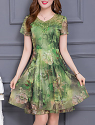 Women's Going out Plus Size Sophisticated A Line Chiffon Dress,Print Round Neck Knee-length Short Sleeves Polyester Summer Mid Rise