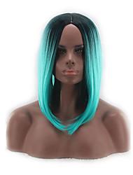 abordables -Pelucas sintéticas Recto Corte Bob Pelo sintético Raya en medio / Entradas Naturales Azul Peluca Mujer Corta / Media Sin Tapa