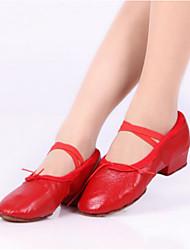 cheap -Women's Ballet PU Flat Heel Practice Black Beige Red Non Customizable