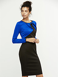 Women's Sexy  Casual  Day Color Block Bodycon Dress , Bow Knee-length Polyester