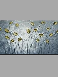 preiswerte -Hang-Ölgemälde Handgemalte - Blumenmuster / Botanisch Ländlich / Modern Segeltuch / Gestreckte Leinwand