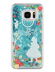 cheap -For Samsung Galaxy S8 Plus S8 Phone Case Princess Pattern Flowing Quicksand Liquid Glitter Plastic PC Materia S7 edge S7