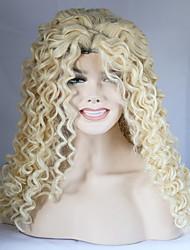 economico -Donna Parrucche Lace Front Sintetiche Pantaloncini Medio Lungo Riccio Biondo platino Attaccatura dei capelli naturale Parrucca naturale