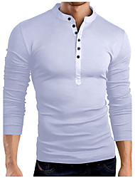 cheap -Men's Birthday Casual Casual Spring Fall T-shirt,Solid Stand Long Sleeves Cotton Blend 30D