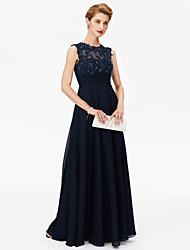 cheap -A-Line Jewel Neck Floor Length Chiffon Mother of the Bride Dress with Beading Appliques Sash / Ribbon Ruching by LAN TING BRIDE®