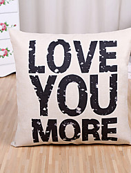 cheap -1 Pcs LOVE YOU MORE Letter Pillow Cover 45*45Cm Cotton/Linen Pillow Case Home Decor