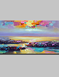 Large Hand Painted Modern Abstract City Oil Paintings On Canvas Wall Pictures For Home Decoration Ready To Hang