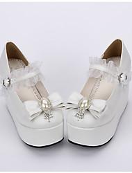 Sapatos Doce Lolita Clássica e Tradicional Lolita Princesa Plataforma Cor Única Poás Lolita 10 CM Branco ParaCouro PU/Couro de