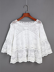 cheap -Women's Daily Casual Going out Cute Spring Summer Blouse,Solid V Neck 3/4 Length Sleeves Lace