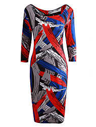 Women's Anniversary Birthday Party/ Evening Event/Party Office/Career Simple Bodycon Dress,Print Square Neck Knee-length 3/4 Length Sleeve