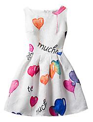 Недорогие -Девичий Платье Хлопок Геометрический принт Мода Лето Без рукавов С цветами Белый