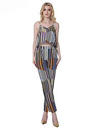 Women's Daily Casual Boho Spring Summer Tank Top Pant Suits,Lines / Waves Off Shoulder Sleeveless Polyster