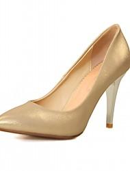Women's Heels Leatherette PU Summer Fall Walking Stiletto Heel Gold White Blue Blushing Pink 3in-3 3/4in
