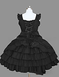 cheap -Gothic Lolita Dress Princess Punk Women's Girls' JSK / Jumper Skirt Cosplay Pink Black Cap Sleeveless Short / Mini