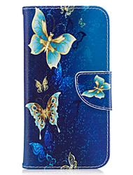 economico -Per la galassia samsung j3 j3 (2016) custodia per copertina di farfalla pu materiale carta stent portafoglio telefono cellulare galassia j7 j5 j3