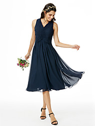 A-Line V-neck Tea Length Chiffon Bridesmaid Dress with Criss Cross Ruching Pleats by LAN TING BRIDE®