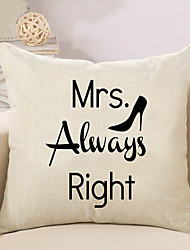 1 Pcs Mrs Always Right Quotes & Sayings Pillow Cover Cotton/Linen 45*45Cm Pillow Case