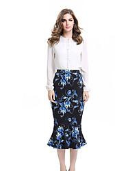 Womens Autumn Elegant  Flower Floral Printed High Waist Casual Party Bodycon Pencil Skirt